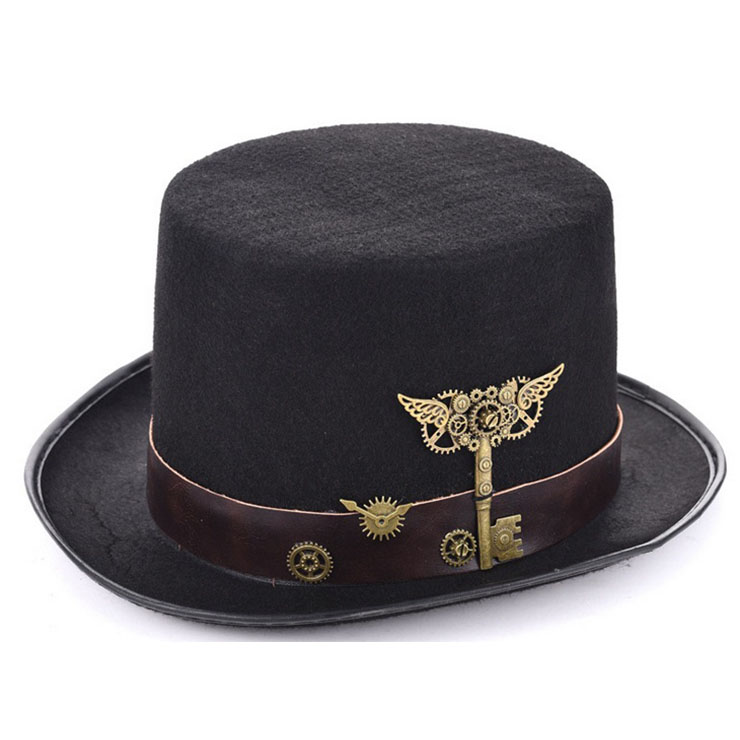 Unisex Steampunk Bronze Metal Gears Masquerade Fancy Party Costume Top Hat J19530