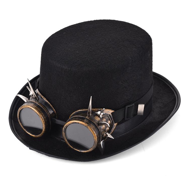Steampunk Rivet Bronze Color Goggles Masquerade Fancy Halloween Costume Top Hat J19838