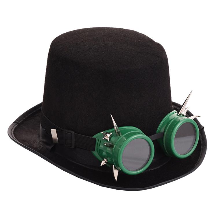 Steampunk Rivet Green Goggles Masquerade Fancy Halloween Costume Top Hat J19839