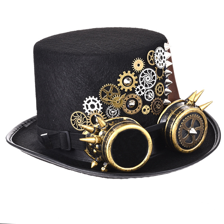 Steampunk Gear and Rivet Glasses Goggles Masquerade Halloween Costume Top Hat J19843