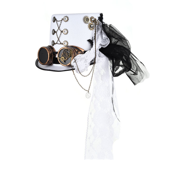 Men's White Knight Steampunk Bronze Goggles and Gears Masquerade Costume Top Hat J19541