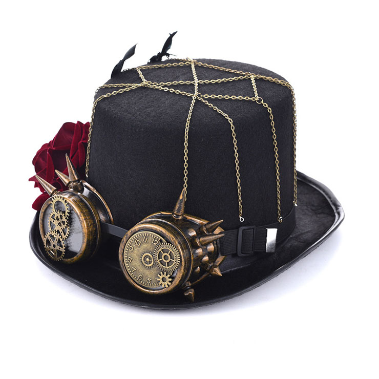 Unisex Steampunk Red Rose and Bronze Goggles Masquerade Fancy Costume Top Hat J19542