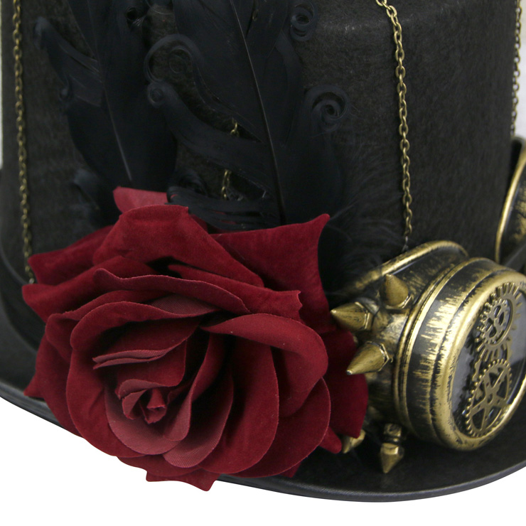 Fancy Vampire Masquerade Party Costume Hat, Steampunk Cosplay Costume Hat, Retro Fascinator Fancy Ball Top Hat, Vintage Industrial Style Vampire Costume Hat, Fashion Party Costume Hat Accessory, Fancy Victorian Gothic Fascinator, Gothic Style Costume Hat, #J19542