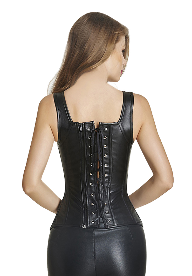 a0fea439abd Steampunk Gothic Black Faux Leather Bustier Corset N11374