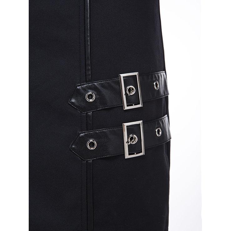 Steampunk Black Skirt, Knee-length Skirt for Women, Gothic Cosplay Skirt, Halloween Costume Skirt, Plus Size Skirt, Steampunk Party Skirt, Irregular Fishtail Skirt, #N15690