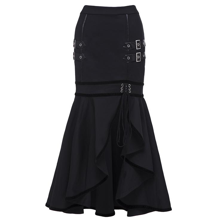 Women's Steampunk Gothic Black Knee-Length Irregular Fishtail Skirt N15690