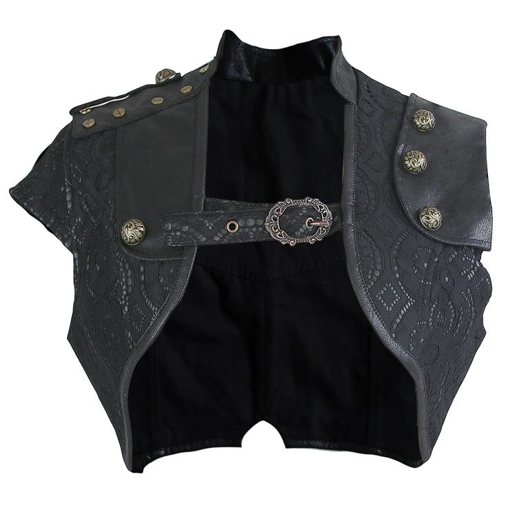 Steampunk Gothic Black Leather Pouch Belt Corset Shrug N14158