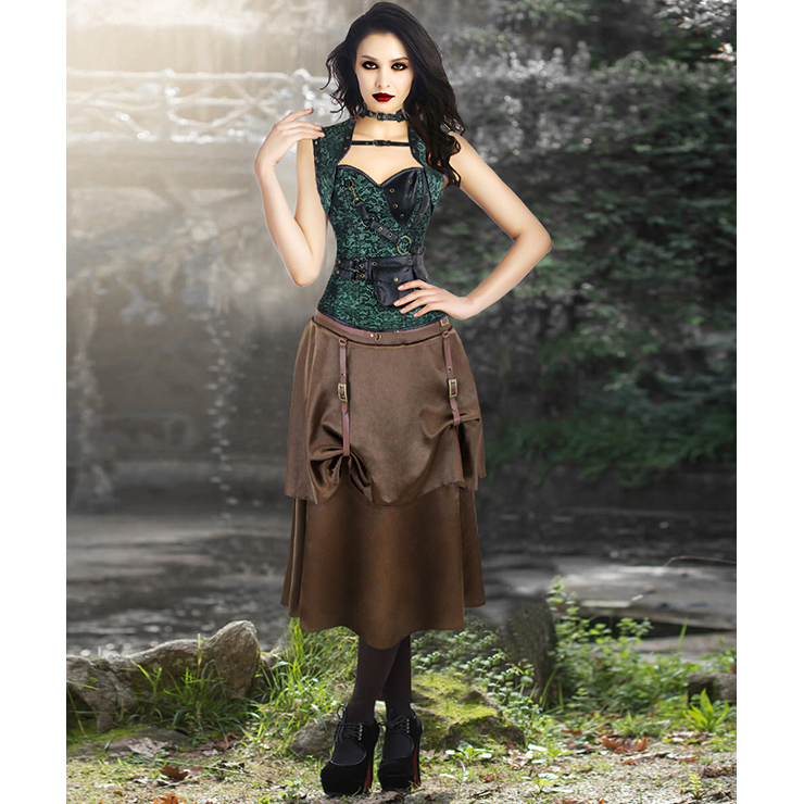 Steampunk Gothic Green Overbust Corset and Vintage Satin Skirt Set N13047