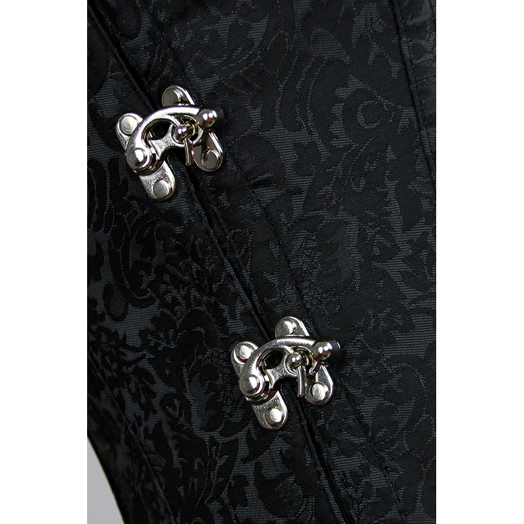 Brocade Gothic Steel Boning Overbust Corset for Halloween, Steampunk Steel Boned Corset Plus size, Steampunk Black Corset for Women, Gothic Overbust Corset Bustier, Waist traning Shapewear, #N11461