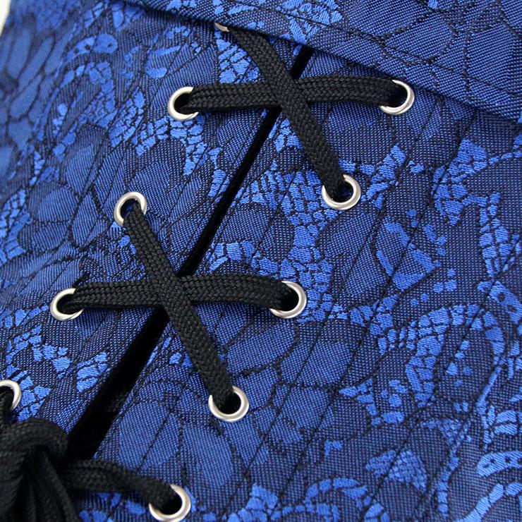 27abdeb2c4 Steampunk Gothic Vintage Blue and Silver Steel Boned Corset N12984