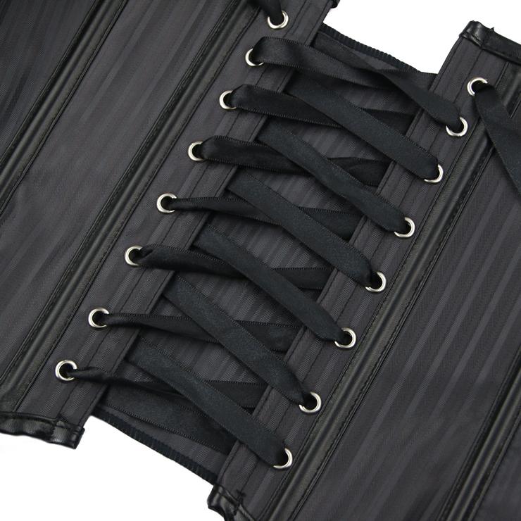 Halter Plastic Bone Underbust Corset, Steampunk Underbust Corset, Halter Stripe Underbust Corset, Plastic Bone Underbust Corset, Steampunk Vintage Underbust Corset, #N15821