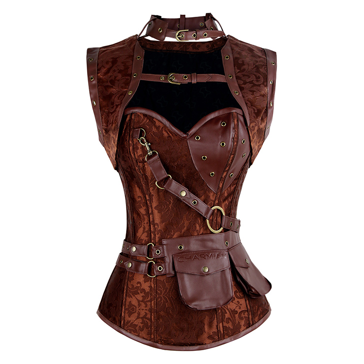 Steampunk High Neck Corset with Jacket N7943