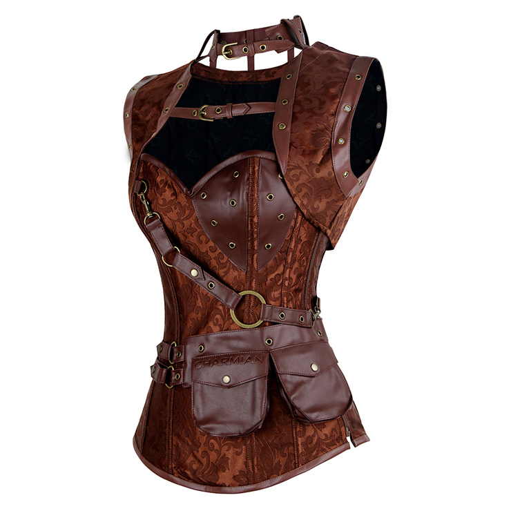 Brown Faux Leather and Brocade Corset, Steel Boned Corset with Jacket, High Neck Pocket Corset, #N7943