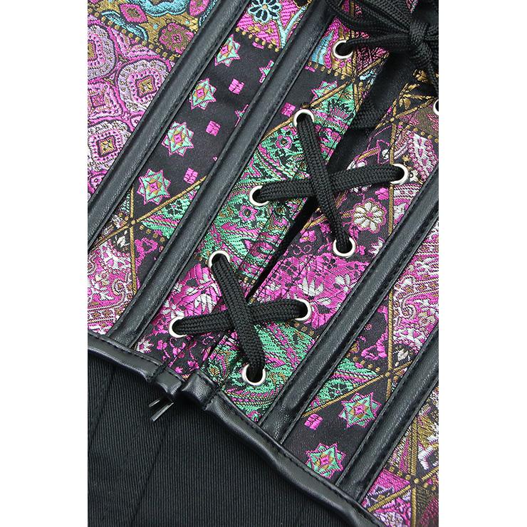 Jacquard Corset, Floral Brocade Corset, Retro Vintage Vest Corset, steampunk clothing steel boning for halloween costume, Steampunk Corset for women, #N11546
