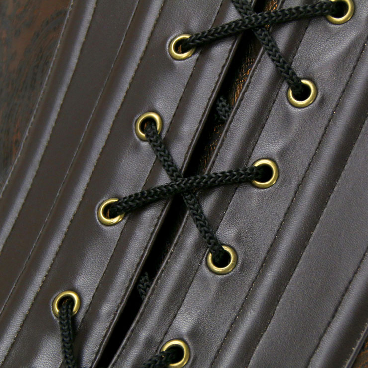Heavy Plastic Boned Corset, Cheap Outerwear Corset, Halloween Warrior Corset, Faux Leather Jacquard Halter Corset, Steampunk Jacquard Overbust Corset, Punk Leather Halter Corset, #N16191