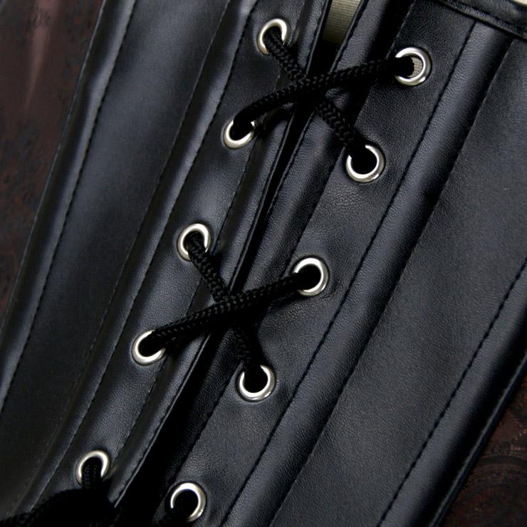 Heavy Plastic Boned Corset, Cheap Outerwear Corset, Halloween Warrior Corset, Faux Leather Jacquard Halter Corset, Steampunk Jacquard Overbust Corset, Punk Leather Halter Corset, #N16192