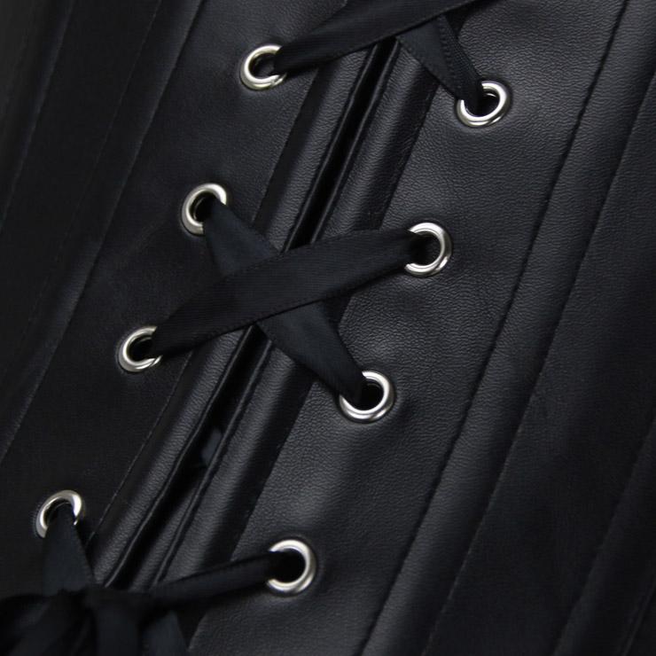 Heavy Plastic Boned Corset, Cheap Outerwear Corset, Halloween Warrior Corset, Faux Leather Jacquard Halter Corset, Steampunk Jacquard Overbust Corset, Punk Leather Corset, #N16193