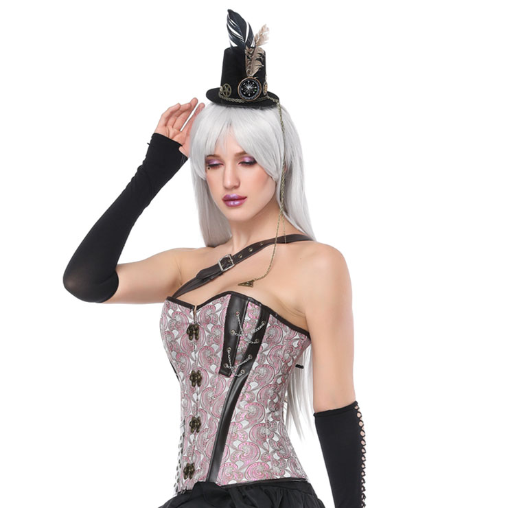 Heavy Plastic Boned Corset, Cheap Outerwear Corset, Halloween Warrior Corset, Faux Leather Jacquard Halter Corset, Steampunk Jacquard Overbust Corset, Punk Leather Halter Corset, #N17326
