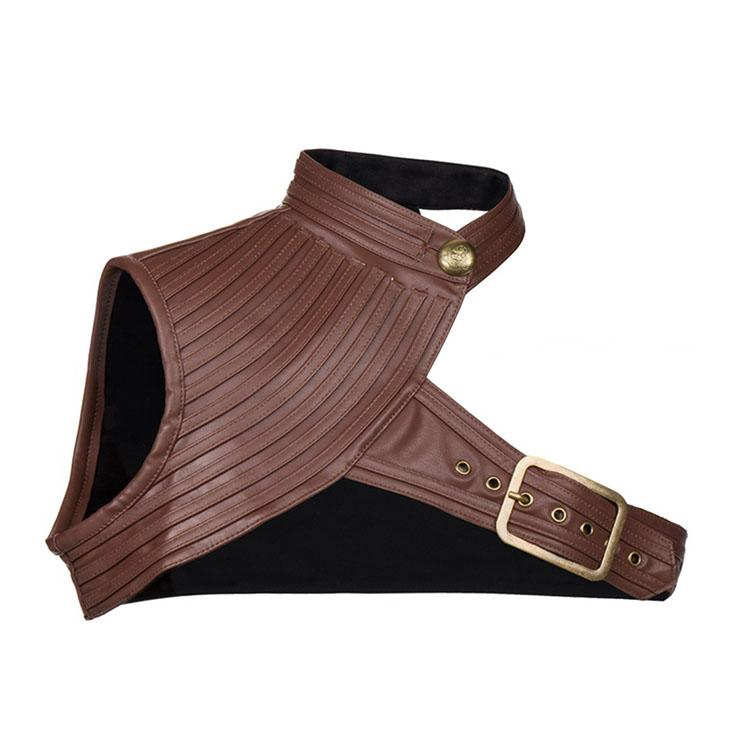 Women's Steampunk Brown High Collar One-shoulder Leather Spiral Stripe Corset Shrug N20796