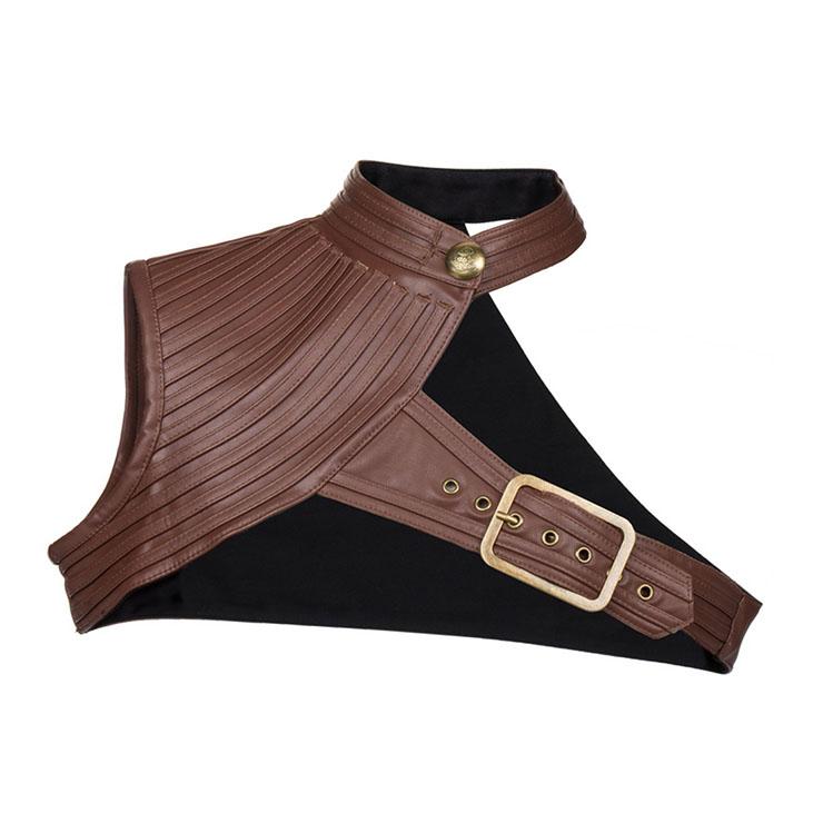 Heavy Corset Shrug, Cheap Outerwear Corset Shrug, Faux Leather Corset Shrug, Punk Leather Corset Shrug, Brown Shrug,One-shoulder Corset Shrug,High Collar Leather Corset Shrug, #N20796