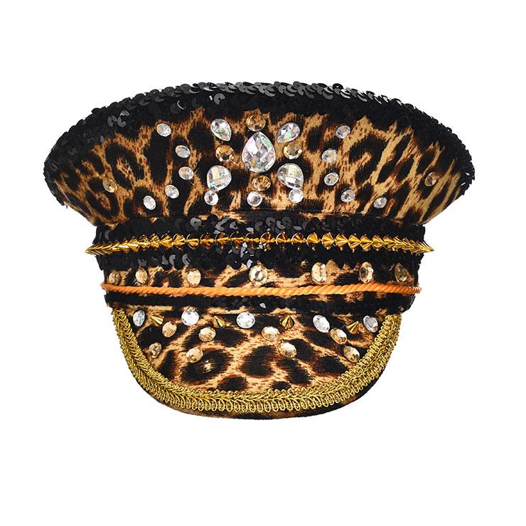 Steampunk Leopard Print Rivets and Gemstones Police Cap Nightclub Cosplay Costume Hat J21541