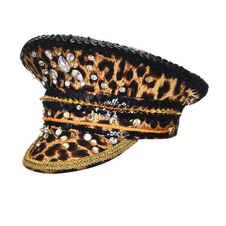 Burning Man Festival Hat, Fancy Masquerade Party Costume Hat, Steampunk Halloween Cosplay Costume Hat, Sequins Nightclub Fancy Ball Top Hat, Police Top Hat Cosplay Costume, Fashion Party Costume Hat Accessory, Gothic Style Costume Hat, #J21541