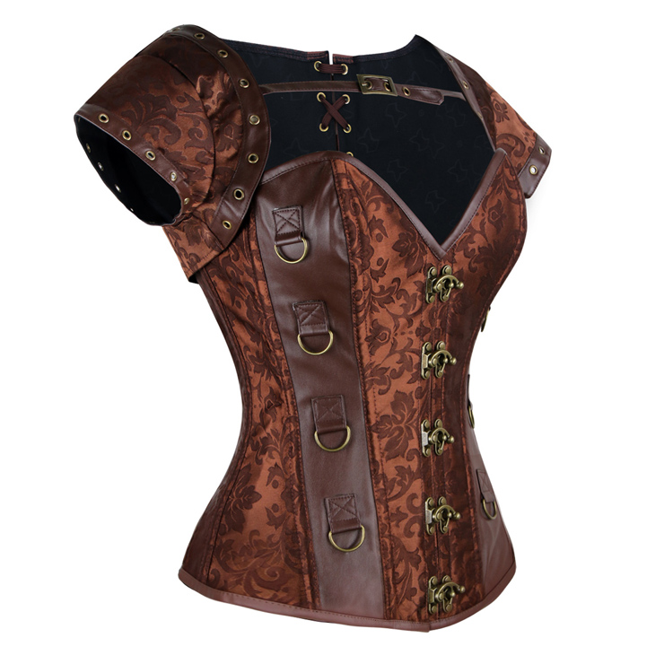 Brown Faux Leather and Brocade Corset, Jacket & Belt D-Ring Corset, Steampunk Corset with Detachable Belt and Jacket, #N7942