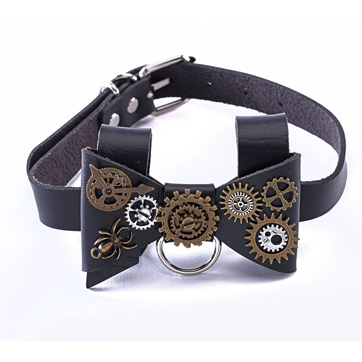 Steampunk Black PU Bow Tie Bowknot Personality Gear Adjustable Necklace Accessories J21212