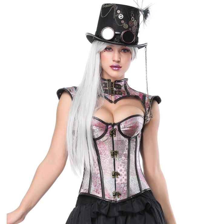Heavy Plastic Boned Corset, Cheap Outerwear Corset, Halloween Warrior Corset, Faux Leather Corset, Faux Leather Jacquard Overbust Corset, Punk Leather Corset with Shrug, #N17327