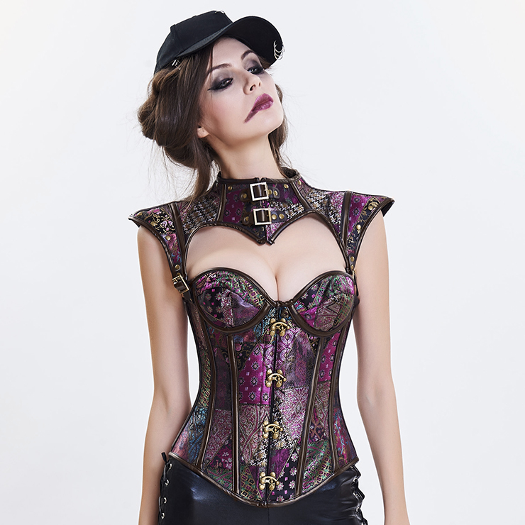 Women's Steampunk Purple Plastic Boned Jacquard Overbust Corset with Decorative Cap Sleeve Shrug N14710