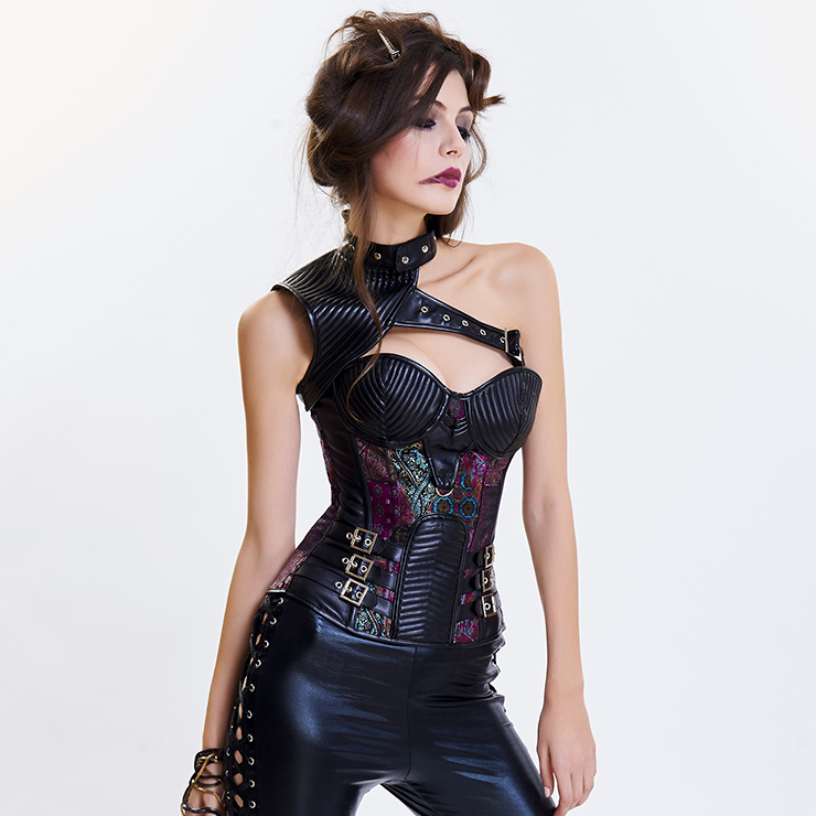 cafbdd5dc3 Women s Steampunk Purple Steel Boned One-shoulder Leather Spiral Stripe  Shape Overbust Corset N14706