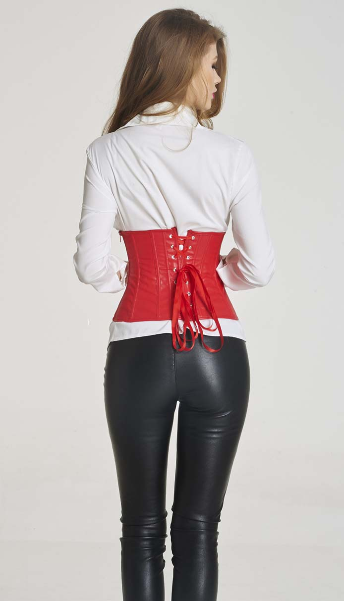 bae6f09d0e Steampunk Red Faux Leather Buckles Trim Underbust Corset Christms N11183