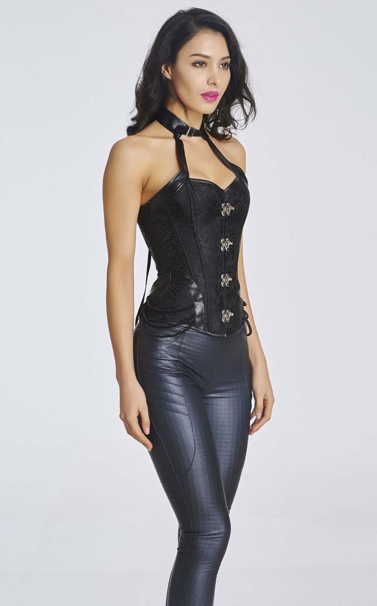 steunk retro black brocade halter overbust corset n11189 steunk retro black brocade halter overbust corset n11189