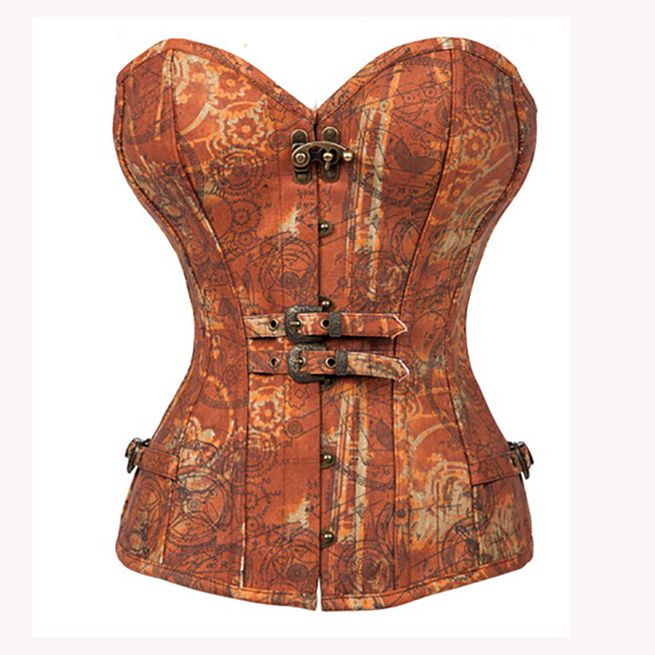 Women's Steampunk Retro Brown Strapless 12 Steel Bone Overbust Corset N15196