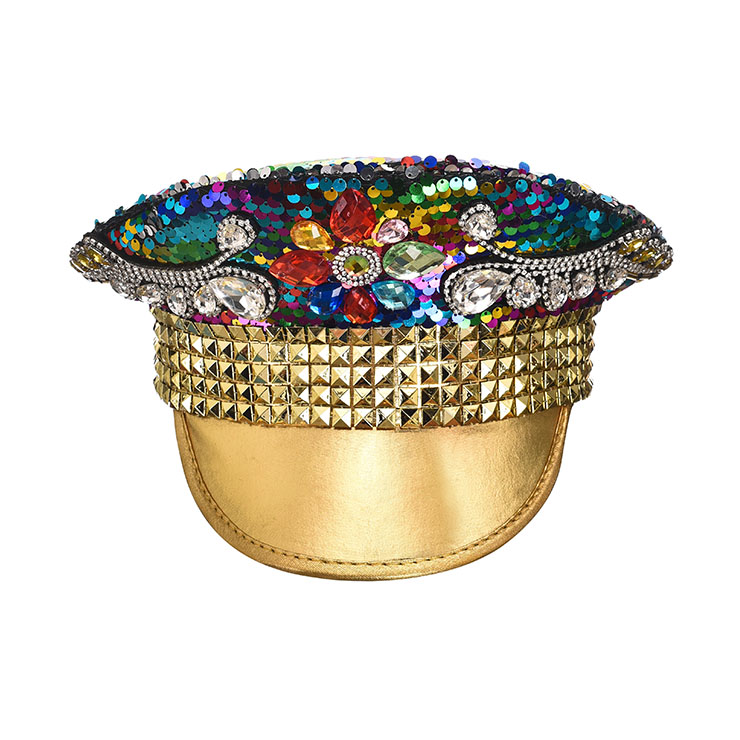 Steampunk Rhinestones and Sequins Army Service Cap Masquerade Cosplay Costume Top Hat J21536