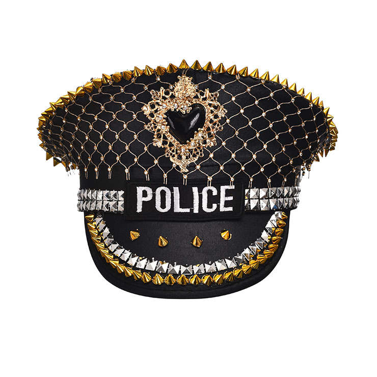 Steampunk Rivets and Rhinestones Police Cap Nightclub Masquerade Cosplay Costume Hat J21539