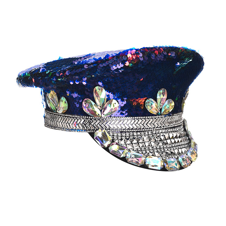 Burning Man Festival Hat, Fancy Masquerade Party Costume Hat, Steampunk Halloween Cosplay Costume Hat, Sequins Nightclub Fancy Ball Top Hat, Police Top Hat Cosplay Costume, Fashion Party Costume Hat Accessory, Gothic Style Costume Hat, #J21540