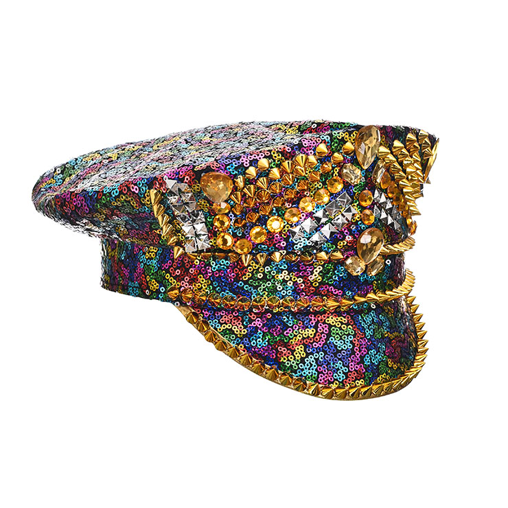 Burning Man Festival Hat, Fancy Masquerade Party Costume Hat, Steampunk Halloween Cosplay Costume Hat, Sequins Nightclub Fancy Ball Top Hat, Police Top Hat Cosplay Costume, Fashion Party Costume Hat Accessory, Gothic Style Costume Hat, #J21537