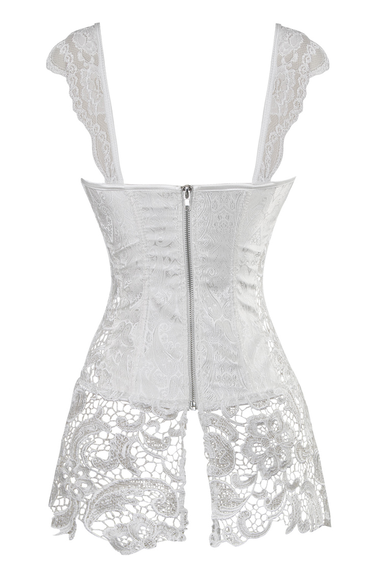 Steampunk White Corset with Lace Skirt, Sexy Lace Trim Skirt Corset, Women