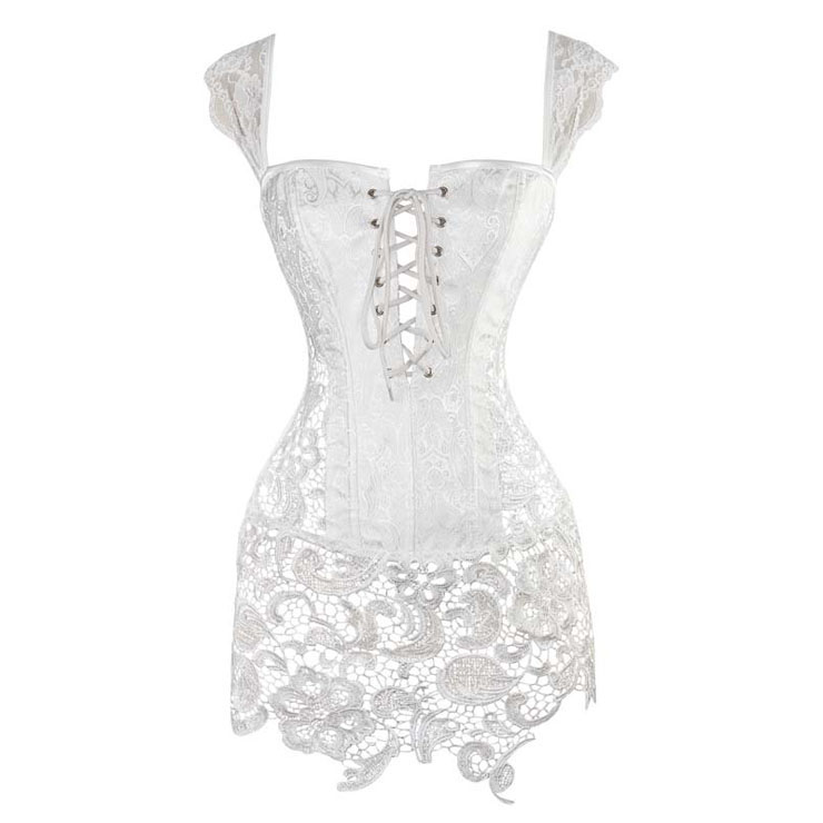 Steampunk Sexy White Jacquard Lace-up Corset with Lace Skirt N11233