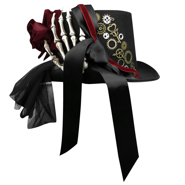Gothic White Skeleton Red Rose and Gear Masquerade Halloween Costume Bowknot Top Hat J19844