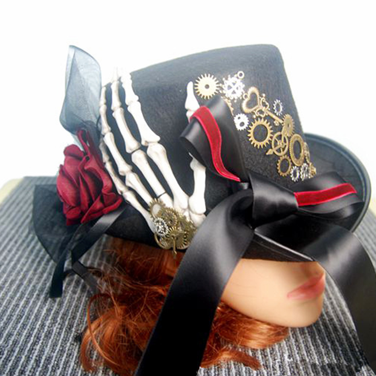 Fancy Vampire Masquerade Party Costume Hat, Steampunk Halloween Cosplay Costume Hat, Retro Fascinator Fancy Ball Top Hat, Vintage Industrial Style Vampire Costume Hat, Fashion Party Costume Hat Accessory, Fancy Victorian Gothic Fascinator, Gothic Style Costume Hat, #J19844