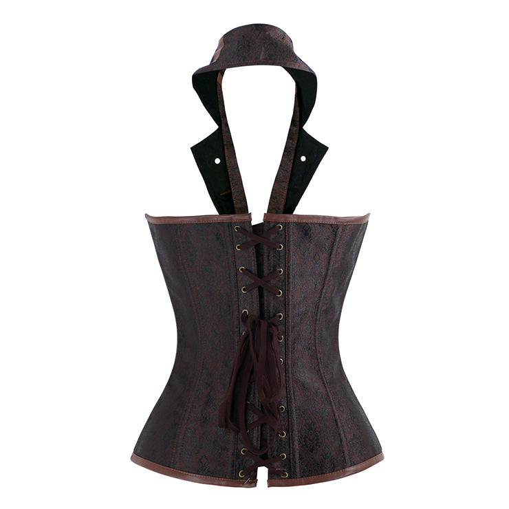 Vintage Brocade Outerwear Corset, Waist Cincher Corset, Cheap Outerwear Corset, Brown Steel Bone Corset, Brown Halter Steampunk Corset, Classic Corset Corset for the Body,#N20174