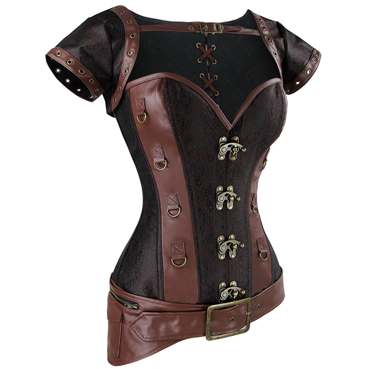Light-Brown Faux Leather and Brocade Corset, Jacket & Belt D-Ring Corset, Steampunk Corset with Detachable Belt and Jacket, #N10345