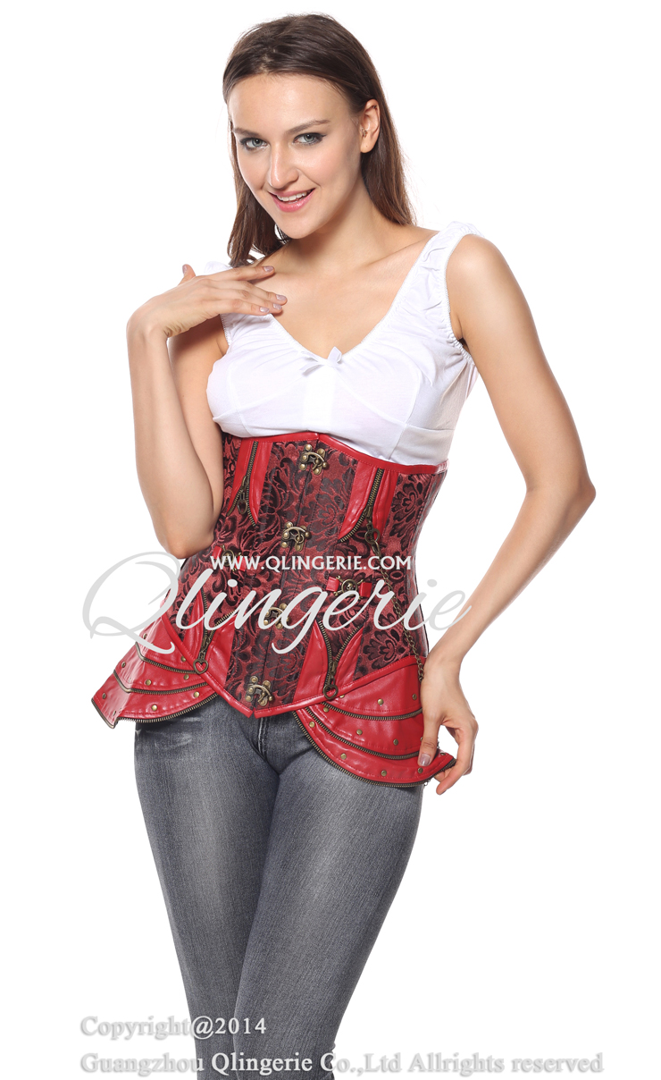 Brocade Underbust Steampunk Steel Boned Corset, Brocade Steel Boned Corset, Steampunk Steel Boned Corset, #N5728