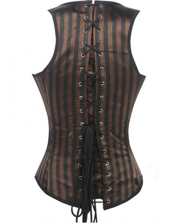 Steel Boned Waistcoat Corset, Steampunk Waist Cincher Underbust Corset, Stripe Waistcoat Underbust Corset, #N9071