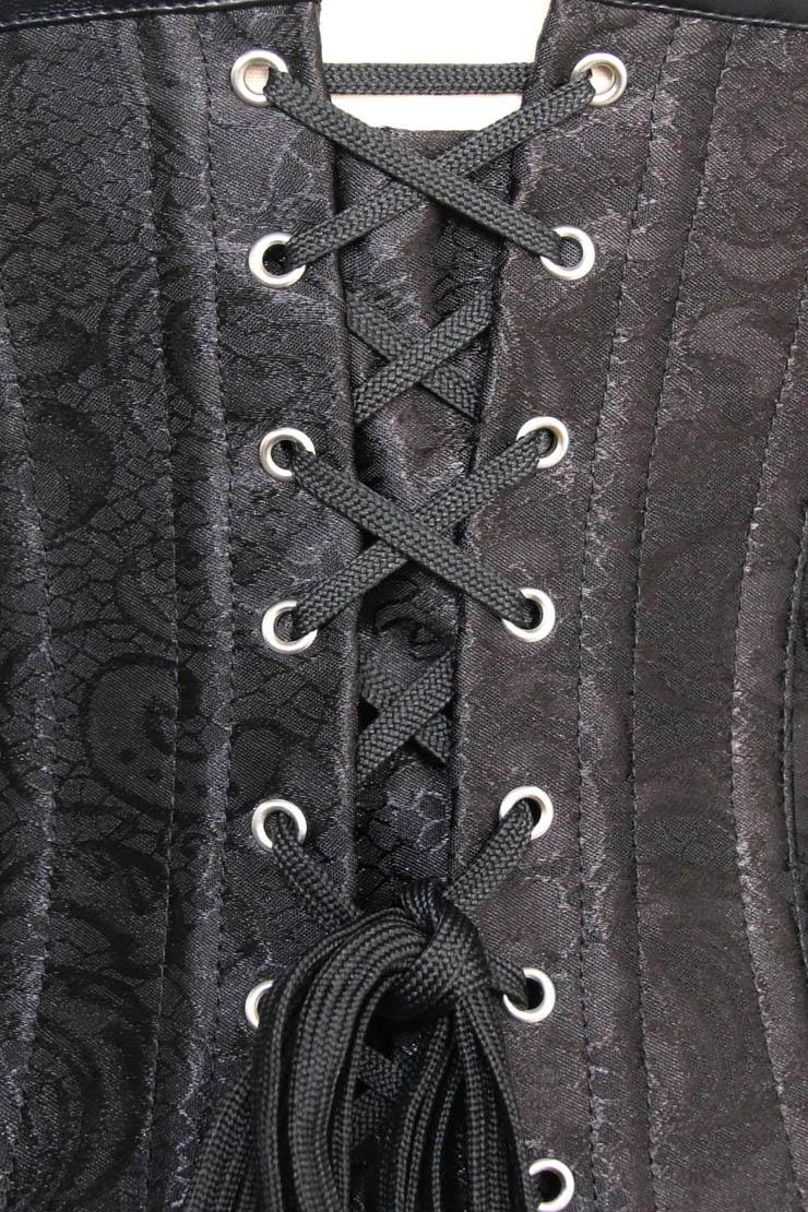 Black Brocade Pattern Corset, Steampunk Style Underbust, Brocade Pattern Steampunk Style Corset, #N4964