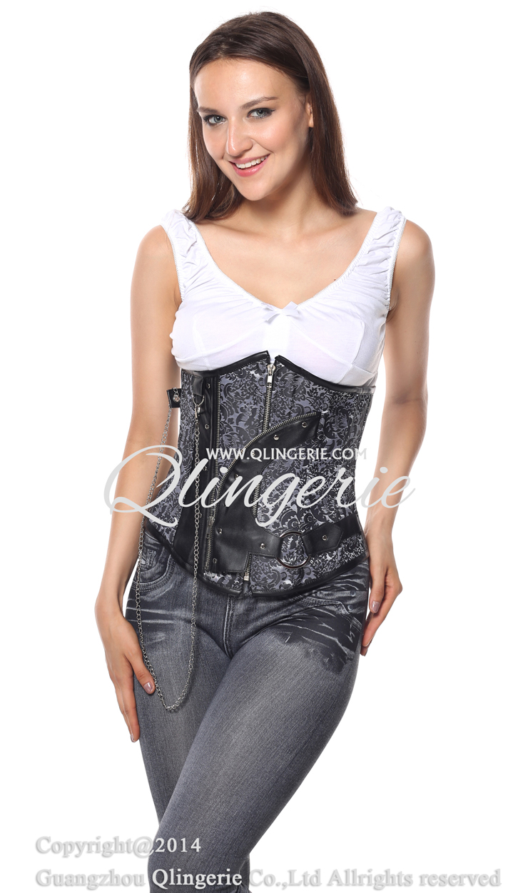 Steampunk Underbust Corset, Black and Silver Steampunk Underbust Corset, Black and Silver Underbust Corset, #N6488