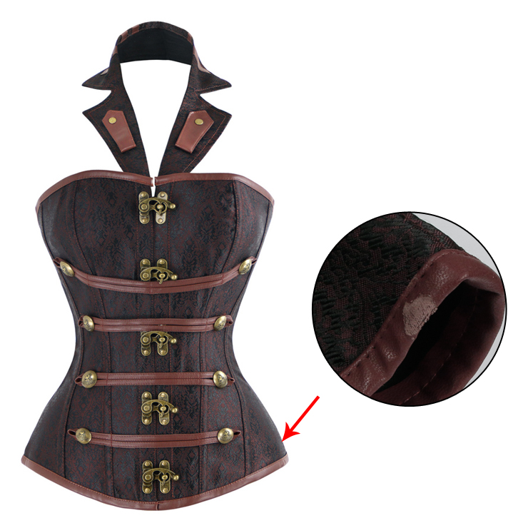 Royalty Steampunk Vintage Brown Halter Neck Steel Bone Busk Closure Outerwear Corset With A Little Defect N10371