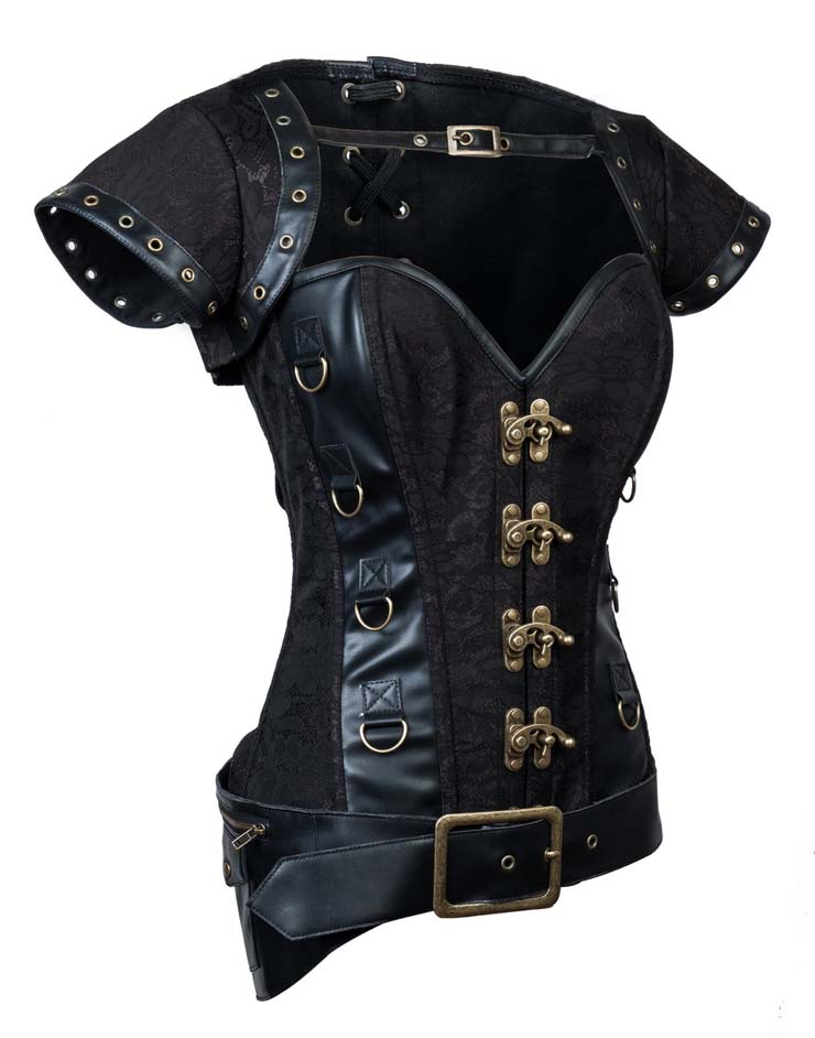 Black Lace and Faux Leather Overbust Corset, Jacket & Belt D-Ring Corset, Steampunk Corset with Detachable Belt and Jacket, Black Steel Bone Corset, #N10614